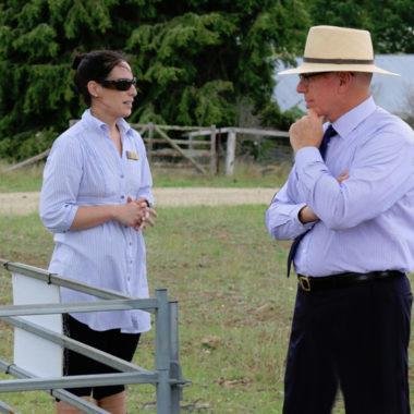 Governor looking at installed SFM1 Sap Flow Meter